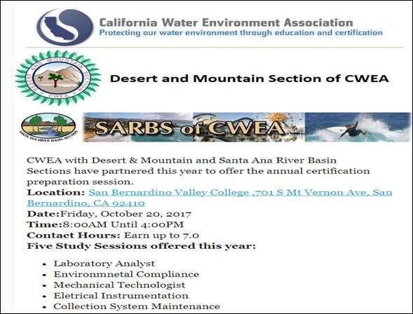 CWEA Certification Training Info